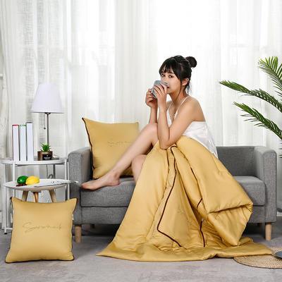 2020新款轻奢刺绣款抱枕被 40X40cm展开被子110*150cm 姜黄