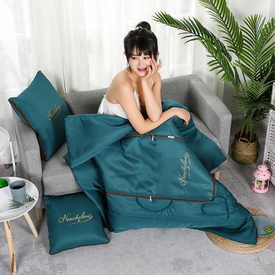 2020新款轻奢刺绣款抱枕被 40X40cm展开被子110*150cm 天使蓝