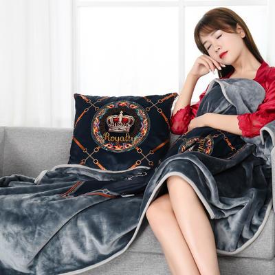 2021新款多功能披肩抱枕毯 45*45cm毯子150*200cm普通 绯红皇冠蓝