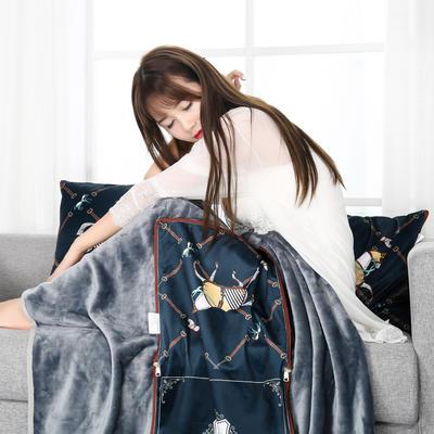 2021新款多功能披肩抱枕毯 45*45cm毯子150*200cm普通 奢华仕蓝