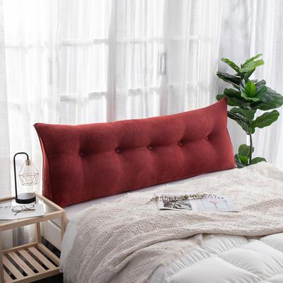 2019新款简约床头靠垫三角双人沙发抱枕大靠背榻榻米软包可拆洗床上长靠枕 0.6m 酒红