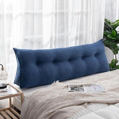 2019新款简约床头靠垫三角双人沙发抱枕大靠背榻榻米软包可拆洗床上长靠枕 0.6m 深海蓝