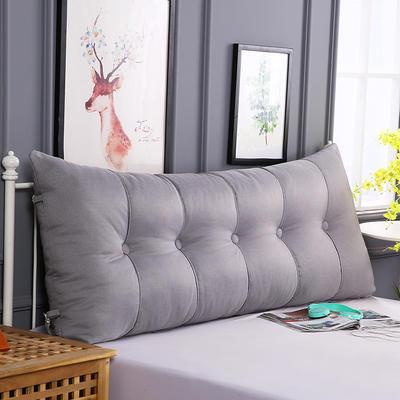 2019新款长方形床头靠垫三角沙发大靠背软包榻榻米床上靠枕可拆洗靠背垫-仿亚麻 60*55*20CM 银灰