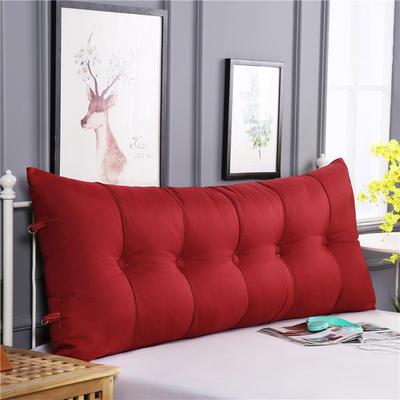 2019新款长方形床头靠垫三角沙发大靠背软包榻榻米床上靠枕可拆洗靠背垫-仿亚麻 60*55*20CM 红色