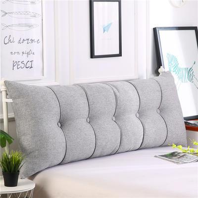 2019新款长方形床头靠垫三角沙发大靠背软包榻榻米床上靠枕可拆洗靠背垫-仿亚麻 60*55*20CM 灰白