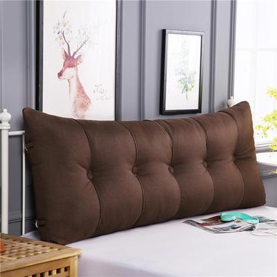 2019新款长方形床头靠垫三角沙发大靠背软包榻榻米床上靠枕可拆洗靠背垫-仿亚麻 60*55*20CM 咖啡
