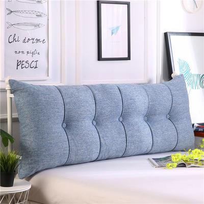 2019新款长方形床头靠垫三角沙发大靠背软包榻榻米床上靠枕可拆洗靠背垫-仿亚麻 60*55*20CM 蓝白