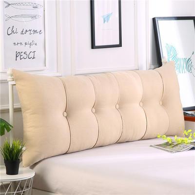 2019新款长方形床头靠垫三角沙发大靠背软包榻榻米床上靠枕可拆洗靠背垫-仿亚麻 60*55*20CM 米黄