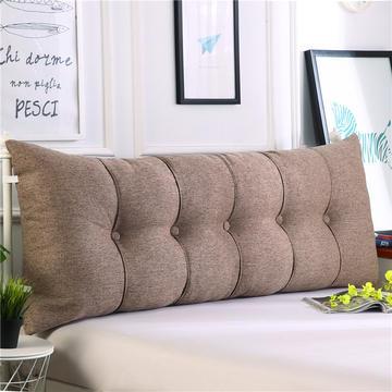 2019新款长方形床头靠垫三角沙发大靠背软包榻榻米床上靠枕可拆洗靠背垫-仿亚麻
