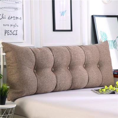 2019新款长方形床头靠垫三角沙发大靠背软包榻榻米床上靠枕可拆洗靠背垫-仿亚麻 60*55*20CM 浅咖