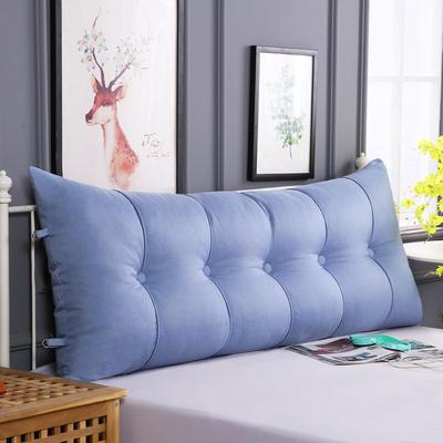 2019新款长方形床头靠垫三角沙发大靠背软包榻榻米床上靠枕可拆洗靠背垫-仿亚麻 60*55*20CM 天蓝
