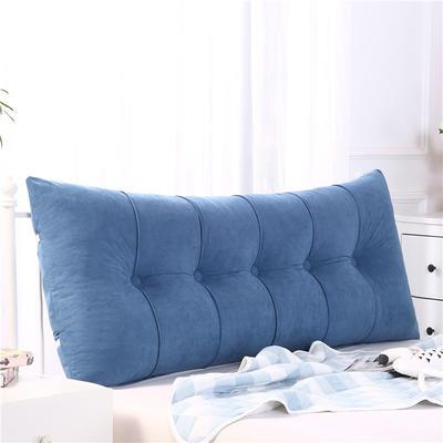 2019新款长方形床头靠垫三角沙发大靠背软包榻榻米床上靠枕可拆洗靠背垫-富贵绒 60*55*20CM 宝蓝