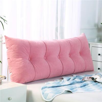 2019新款长方形床头靠垫三角沙发大靠背软包榻榻米床上靠枕可拆洗靠背垫-富贵绒 60*55*20CM 粉色