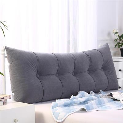 2019新款长方形床头靠垫三角沙发大靠背软包榻榻米床上靠枕可拆洗靠背垫-富贵绒 60*55*20CM 黑灰