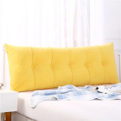 2019新款长方形床头靠垫三角沙发大靠背软包榻榻米床上靠枕可拆洗靠背垫-富贵绒 60*55*20CM 黄色