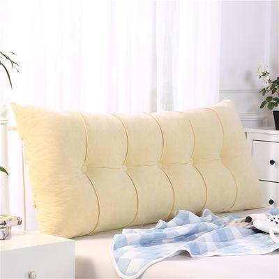 2019新款长方形床头靠垫三角沙发大靠背软包榻榻米床上靠枕可拆洗靠背垫-富贵绒 60*55*20CM 浅米黄