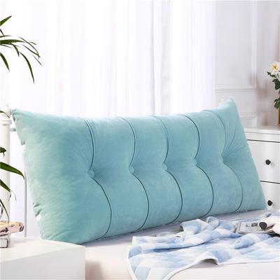 2019新款长方形床头靠垫三角沙发大靠背软包榻榻米床上靠枕可拆洗靠背垫-富贵绒 60*55*20CM 水绿