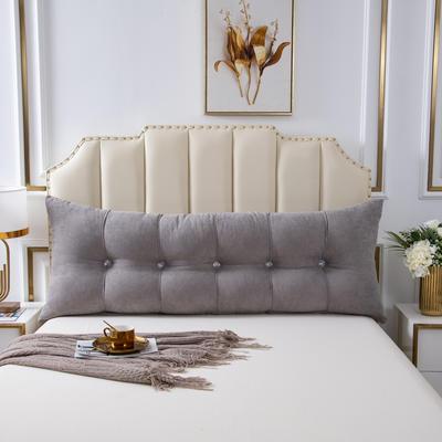 2020新款AB双面冰丝面料+韩国绒床头靠垫 沙发靠枕 长100X高60X厚度20(厘米) 浅灰