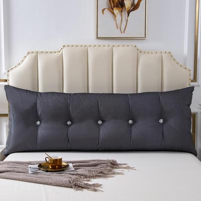 2020新款AB双面冰丝面料+韩国绒床头靠垫 沙发靠枕 长100X高60X厚度20(厘米) 深灰