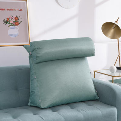 2020新款夏季冰丝床头靠垫 沙发靠枕  抱枕靠背垫   沙发护腰靠背垫   三角靠垫枕 长45X高45X厚度20(厘米) 水蓝