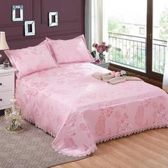 水洗提花冰丝席床单三件套 250*250cm 金碧辉煌粉色