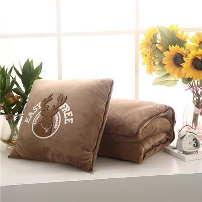 2020 水晶绒抱枕被加厚双面水晶绒布多功能靠垫被 大号50x50cm打开150x190cm 自由鹿咖色