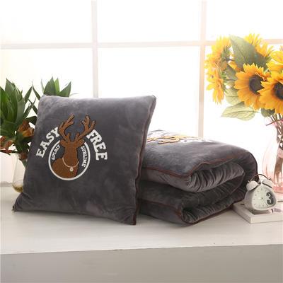 2020 水晶绒抱枕被加厚双面水晶绒布多功能靠垫被 大号50x50cm打开150x190cm 自由鹿灰色