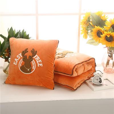2020 水晶绒抱枕被加厚双面水晶绒布多功能靠垫被 大号50x50cm打开150x190cm 自由鹿橘色