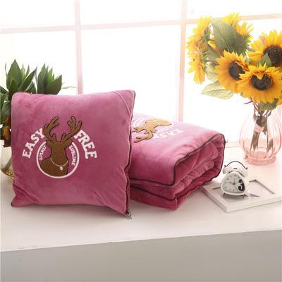 2020 水晶绒抱枕被加厚双面水晶绒布多功能靠垫被 大号50x50cm打开150x190cm 自由鹿豆沙