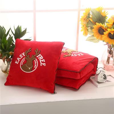 2020 水晶绒抱枕被加厚双面水晶绒布多功能靠垫被 大号50x50cm打开150x190cm 自由鹿大红
