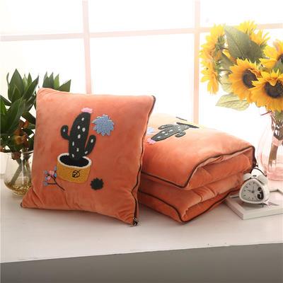 2020 水晶绒抱枕被加厚双面水晶绒布多功能靠垫被 中号45x45cm打开115*150cm 仙人掌橘色