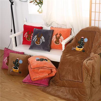 2020 水晶绒抱枕被加厚双面水晶绒布多功能靠垫被 中号45x45cm打开115*150cm 仙人掌大红