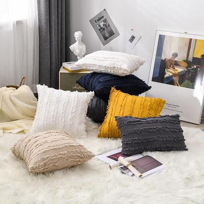 2020新款棉麻剪花流苏款抱枕靠垫抱枕套沙发抱枕 30x50cm单枕套 藏蓝 (1)