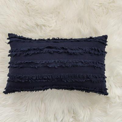 2020新款棉麻剪花流苏款抱枕靠垫抱枕套沙发抱枕 30x50cm单枕套 藏蓝 (2)