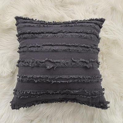 2020新款棉麻剪花流苏款抱枕靠垫抱枕套沙发抱枕 30x50cm单枕套 深灰色 (1)