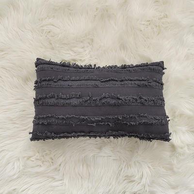 2020新款棉麻剪花流苏款抱枕靠垫抱枕套沙发抱枕 30x50cm单枕套 深灰色 (2)