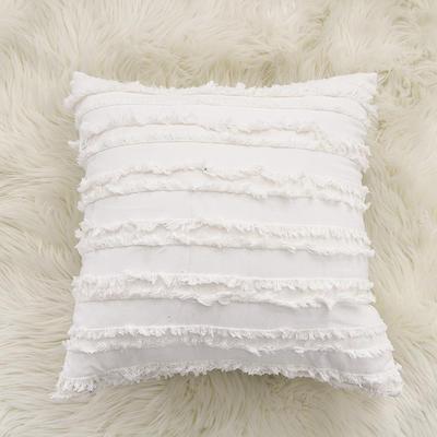 2020新款棉麻剪花流苏款抱枕靠垫抱枕套沙发抱枕 30x50cm单枕套 素白色 (1)