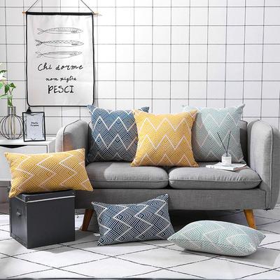 2020新款棉麻提花抱枕 30x50cm单枕套 黄色