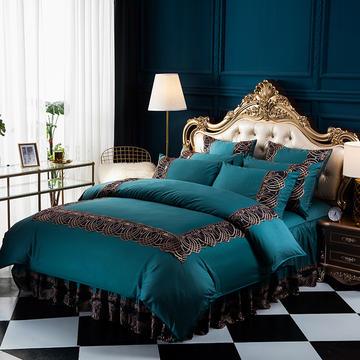 好眠好梦2018新款全棉床裙四件套六件套 标准1.5m床裙款 艾丽卡-宝蓝