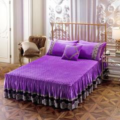 超柔水晶绒夹棉单床裙、床裙三件套 枕套/对 艾薇儿-紫色