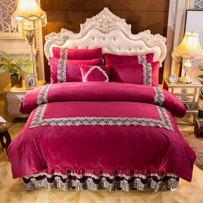 2018新款好眠好梦   艾薇儿系列水晶绒系列四件套 1.2m(4英尺)床 艾薇儿-酒红