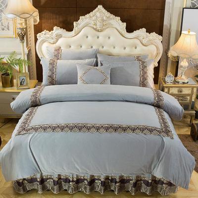 2018新款好眠好梦   艾薇儿系列水晶绒系列四件套 1.2m(4英尺)床 艾薇儿-银灰