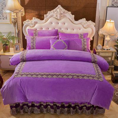 2018新款好眠好梦   艾薇儿系列水晶绒系列四件套 1.2m(4英尺)床 艾薇儿-紫色