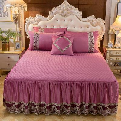 2018新款好眠好梦   艾薇儿系列水晶绒系列单床裙 床裙三件套 120*200cm 艾薇儿-豆沙