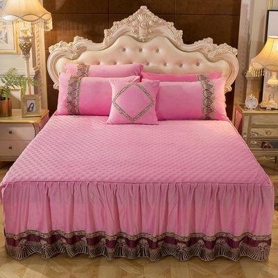 2018新款好眠好梦   艾薇儿系列水晶绒系列单床裙 床裙三件套 120*200cm 艾薇儿-粉色