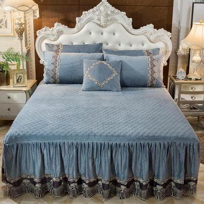2018新款好眠好梦   艾薇儿系列水晶绒系列单床裙 床裙三件套 120*200cm 艾薇儿-灰色