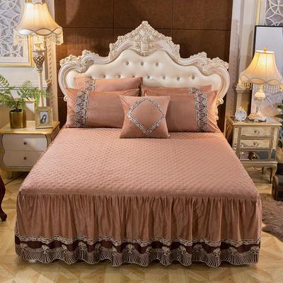 2018新款好眠好梦   艾薇儿系列水晶绒系列单床裙 床裙三件套 120*200cm 艾薇儿-浅咖