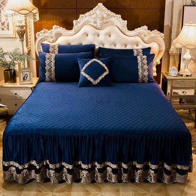 2018新款好眠好梦   艾薇儿系列水晶绒系列单床裙 床裙三件套 120*200cm 艾薇儿-深蓝