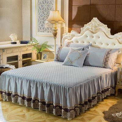 2018新款好眠好梦   艾薇儿系列水晶绒系列单床裙 床裙三件套 120*200cm 艾薇儿-银灰