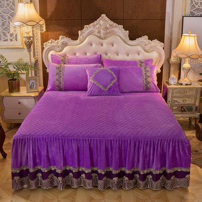2018新款好眠好梦   艾薇儿系列水晶绒系列单床裙 床裙三件套 120*200cm 艾薇儿-紫色